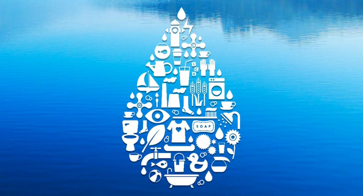 graphic of water droplet comprised of symbols of daily activities