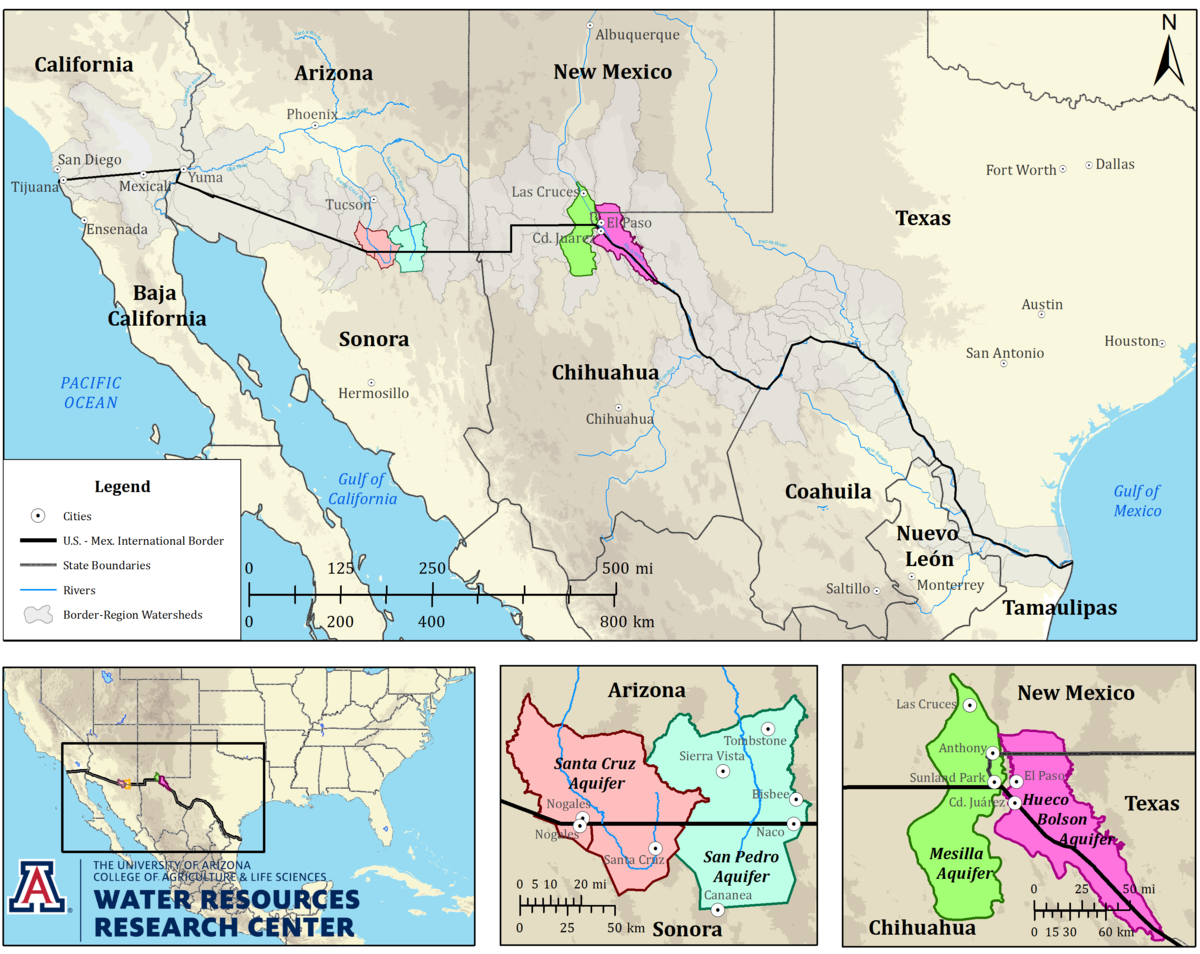 Map Of Arizona Border.Transboundary Aquifer Assessment Program Wrrc Arizona Edu