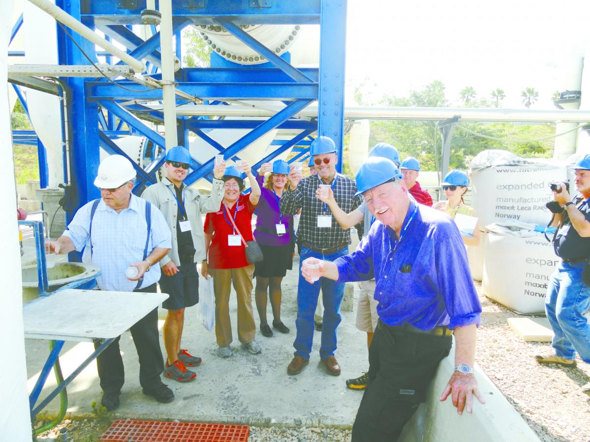 "Sharon Megdal toasts ""L'Chaim"" with desalinated seawater with her colleagues at a desalination plant in Hadera, Israel"