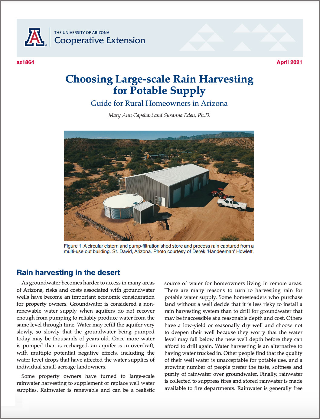 Cover, Large-scale water harvesting guide