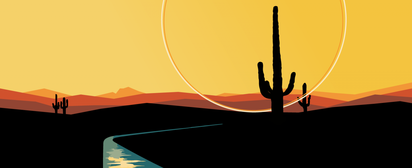 A graphic depicting a Saguaro cactus against a yellow background with a river flowing nearby