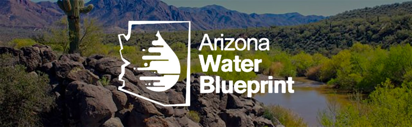 Arizona Water Blueprint Logo. A water drop surrounded by a silhouette of the state of Arizona