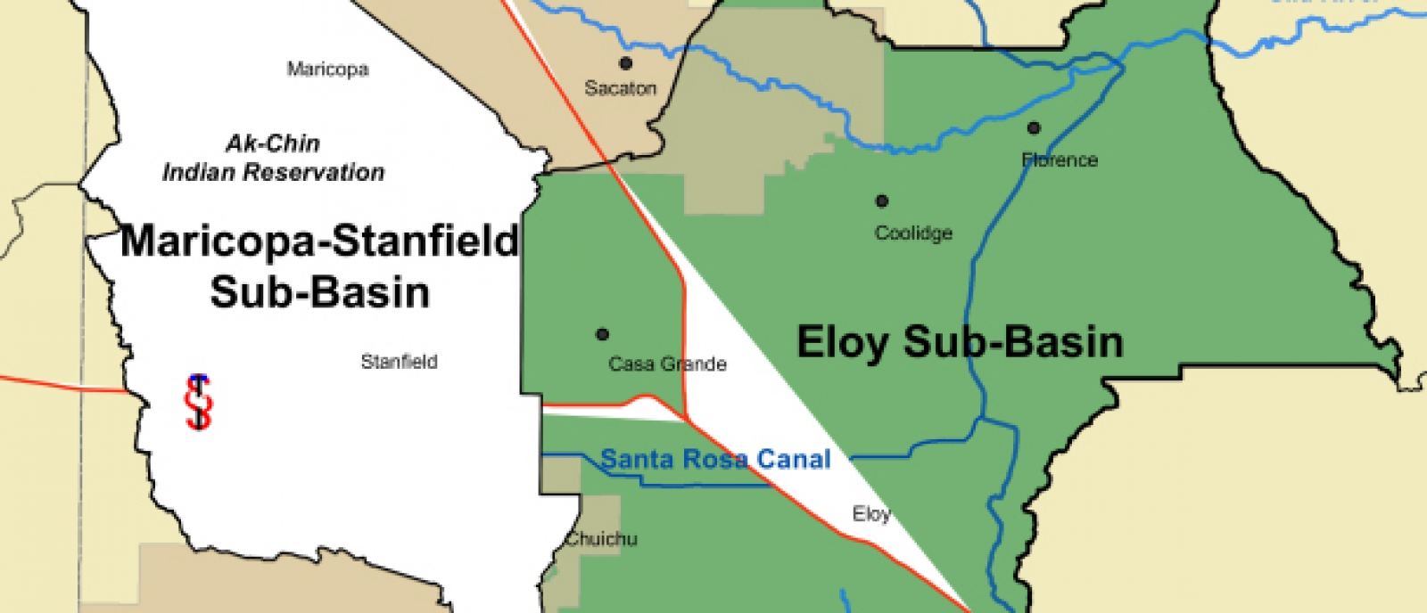 Eloy and Maricopa-Stanfield Basin Map