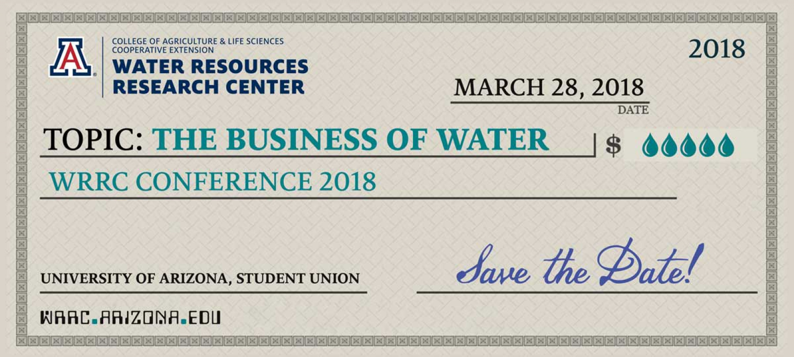 The Business of Water info card graphic. resembles a check