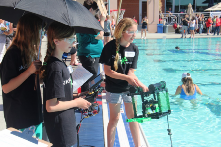 students  by pool with robots