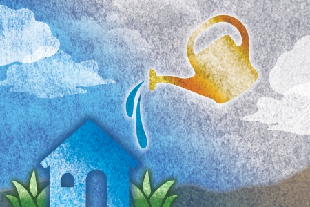 A graphic of a watering can sprinkling water over a small blue house